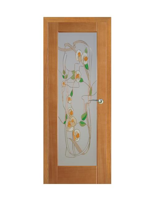 """Межкомнатная дверь """"Рубикон"""" стекло """"Флора"""""""