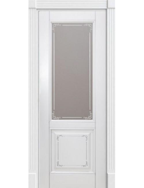 """Межкомнатная дверь """"Британия-2""""Багет художест.фреза.патина золото окрашенная в эмали (под эмалью) стекло"""