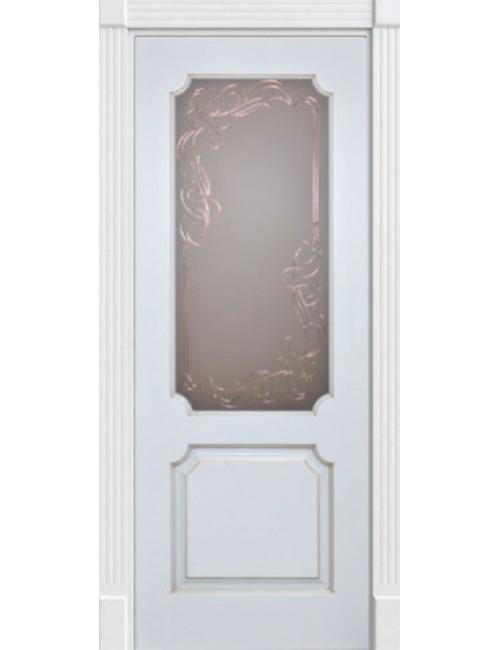 """Межкомнатная дверь """"Анкона"""" окрашенная в эмали (под эмалью)патина золото стекло"""