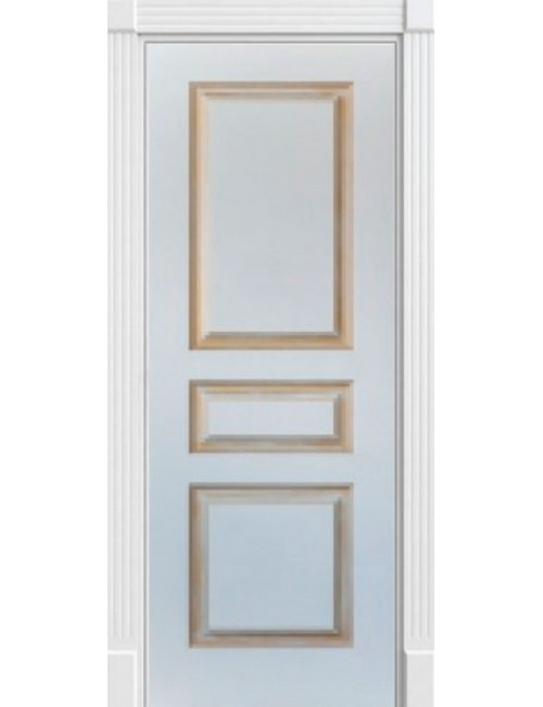 """Межкомнатная дверь """"Британия-2""""окрашенная в белой эмали (под эмалью) патина золото"""