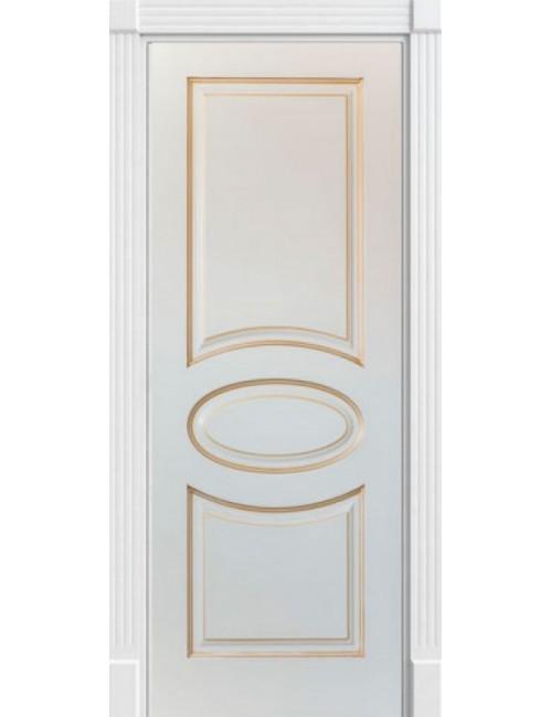 """Межкомнатная дверь """"Симфония""""окрашенная в белой эмали (под эмалью)патина золото"""