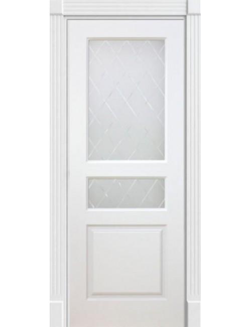 """Межкомнатная дверь """"Британия-2""""Фрезерованная окрашенная в эмали (под эмалью) стекло Ромб"""