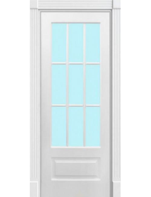 """Межкомнатная дверь """"Лондон""""окрашенная в белой эмали (под эмалью)стекло 9"""