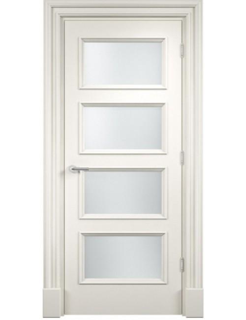 """Межкомнатная дверь """"Прима-4"""" Багет окрашенная в эмали, белые двери (под эмалью) стекло"""